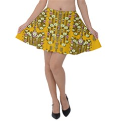 Rain Showers In The Rain Forest Of Bloom And Decorative Liana Velvet Skater Skirt by pepitasart