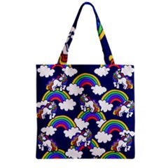 Rainbow Unicorns Grocery Tote Bag by BubbSnugg