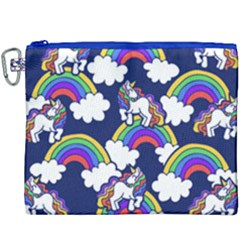 Rainbow Unicorns Canvas Cosmetic Bag (xxxl) by BubbSnugg
