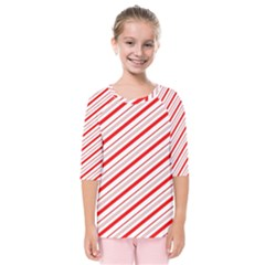 Candy Cane Stripes Kids  Quarter Sleeve Raglan Tee