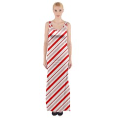 Candy Cane Stripes Maxi Thigh Split Dress