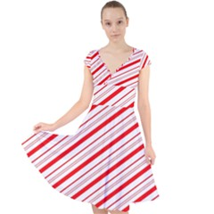 Candy Cane Stripes Cap Sleeve Front Wrap Midi Dress