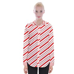 Candy Cane Stripes Womens Long Sleeve Shirt