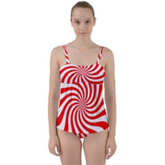 Peppermint Candy Twist Front Tankini Set