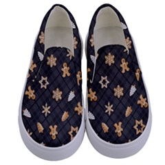 Gingerbread Dark Kids  Canvas Slip Ons
