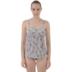 Gingerbread Light Twist Front Tankini Set