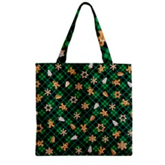 Gingerbread Green Zipper Grocery Tote Bag by jumpercat