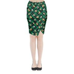 Gingerbread Green Midi Wrap Pencil Skirt