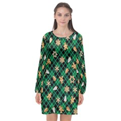 Gingerbread Green Long Sleeve Chiffon Shift Dress
