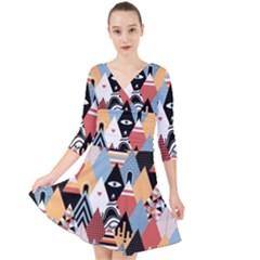 Abstract Diamond Pattern Quarter Sleeve Front Wrap Dress