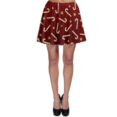 Golden Candycane Red Skater Skirt