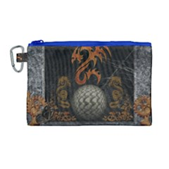 Awesome Tribal Dragon Made Of Metal Canvas Cosmetic Bag (large) by FantasyWorld7