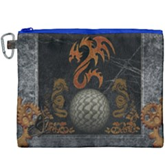 Awesome Tribal Dragon Made Of Metal Canvas Cosmetic Bag (xxxl) by FantasyWorld7