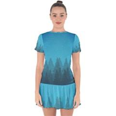 Winter Land Blue Drop Hem Mini Chiffon Dress