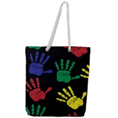 Handprints Hand Print Colourful Full Print Rope Handle Tote (large) by Celenk