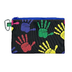 Handprints Hand Print Colourful Canvas Cosmetic Bag (large)