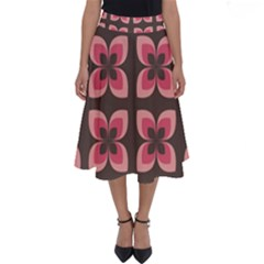 Floral Retro Abstract Flowers Perfect Length Midi Skirt