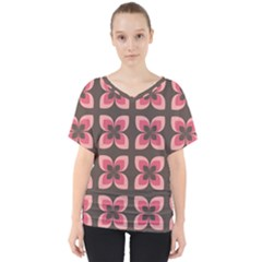 Floral Retro Abstract Flowers V Neck Dolman Drape Top