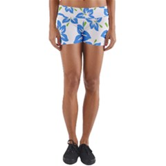 Hibiscus Wallpaper Flowers Floral Yoga Shorts by Celenk