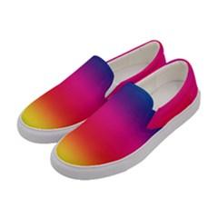 Spectrum Background Rainbow Color Women s Canvas Slip Ons by Celenk