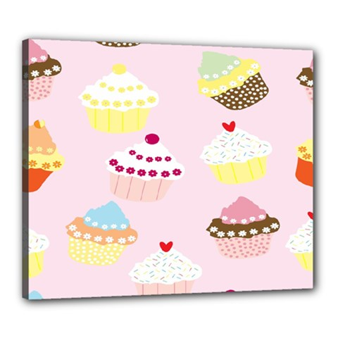Cupcakes Wallpaper Paper Background Canvas 24  X 20  by Celenk