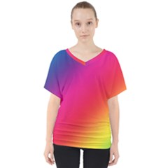 Spectrum Background Rainbow Color V Neck Dolman Drape Top