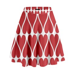 Hearts Pattern Seamless Red Love High Waist Skirt by Celenk