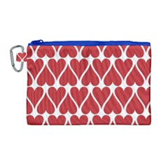 Hearts Pattern Seamless Red Love Canvas Cosmetic Bag (large) by Celenk