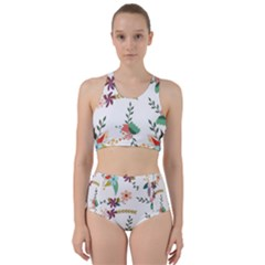 Floral Backdrop Pattern Flower Racer Back Bikini Set