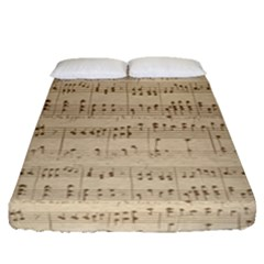 Vintage Beige Music Notes Fitted Sheet (queen Size) by Celenk