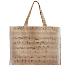 Vintage Beige Music Notes Zipper Mini Tote Bag by Celenk