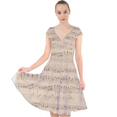 Vintage Beige Music Notes Cap Sleeve Front Wrap Midi Dress