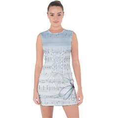 Vintage Blue Music Notes Lace Up Front Bodycon Dress
