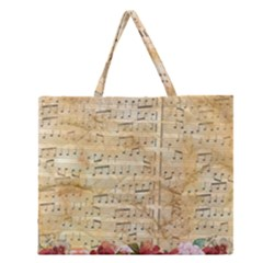 Background Old Parchment Musical Zipper Large Tote Bag by Celenk