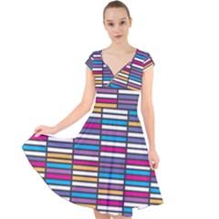 Color Grid 01 Cap Sleeve Front Wrap Midi Dress