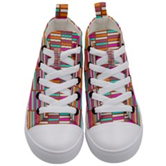 Color Grid 02 Kid s Mid Top Canvas Sneakers