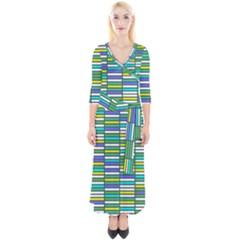 Color Grid 03 Quarter Sleeve Wrap Maxi Dress