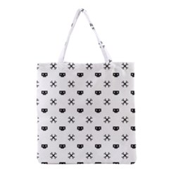 Black Pixel Skull Pirate Grocery Tote Bag by jumpercat