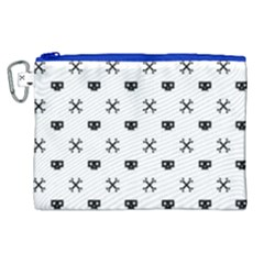 Black Pixel Skull Pirate Canvas Cosmetic Bag (xl) by jumpercat