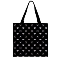 White Pixel Skull Pirate Grocery Tote Bag by jumpercat