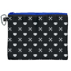 White Pixel Skull Pirate Canvas Cosmetic Bag (xxl)