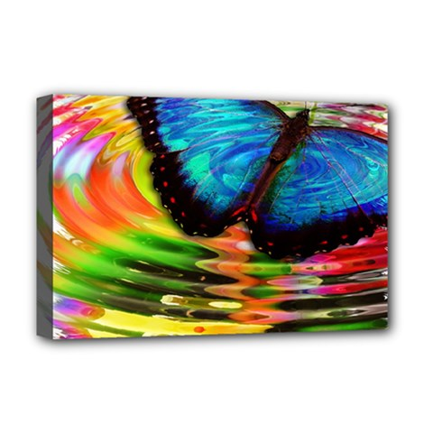 Blue Morphofalter Butterfly Insect Deluxe Canvas 18  X 12   by Celenk