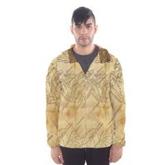 Vintage Map Background Paper Hooded Wind Breaker (men) by Celenk
