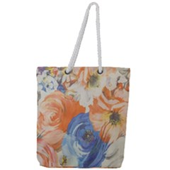 Texture Fabric Textile Detail Full Print Rope Handle Tote (large) by Celenk