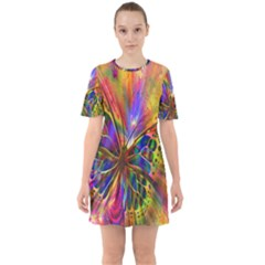 Arrangement Butterfly Aesthetics Sixties Short Sleeve Mini Dress