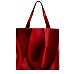 Red Fabric Textile Macro Detail Zipper Grocery Tote Bag by Celenk