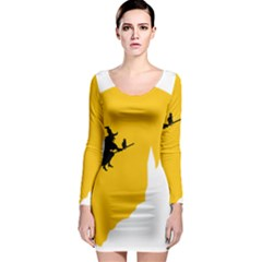 Castle Cat Evil Female Fictional Long Sleeve Bodycon Dress by Celenk