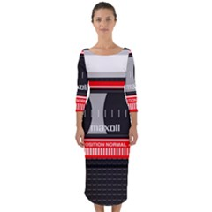 Compact Cassette Musicassette Mc Quarter Sleeve Midi Bodycon Dress by Celenk