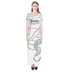Brain Chart Diagram Face Fringe Short Sleeve Maxi Dress