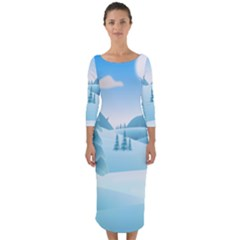 Landscape Winter Ice Cold Xmas Quarter Sleeve Midi Bodycon Dress by Celenk